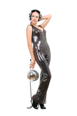Attractive young woman with a mirror ball in her hands. Isolated photo