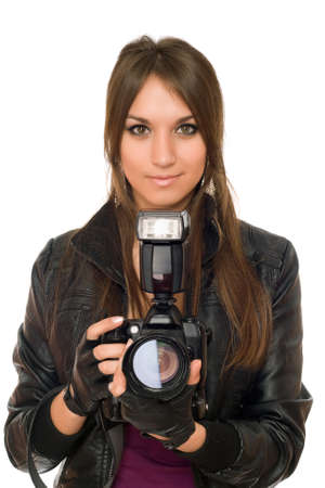 Alluring young brunette woman with the camera photo