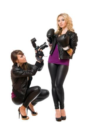Pretty blond and brunette with the camera photo