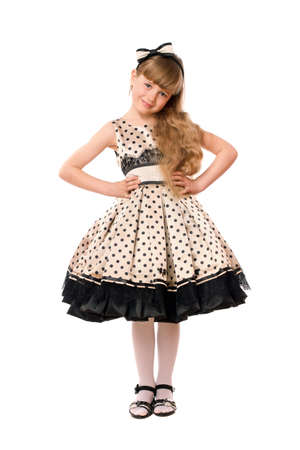 Beautiful little girl in a dress. Isolated Stock Photo - 13702642