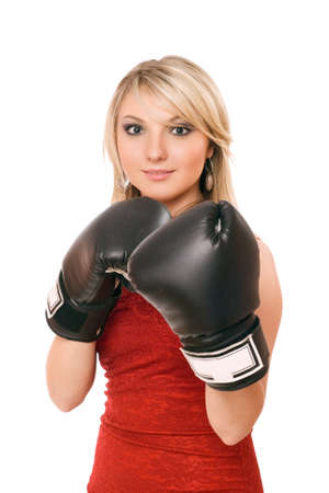 Charming blond young woman in boxing gloves photo