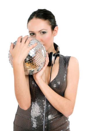 mirrorball: Portrait of attractive young brunette with a mirror ball in her hands. Isolated on white Stock Photo