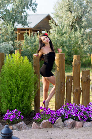 mini dress: Pretty young woman in black dress near the wooden fence