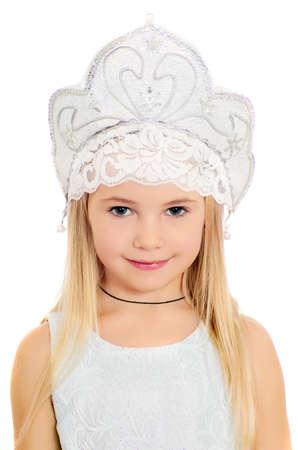 kokoshnik: Closeup portrait of charming little girl in a kokoshnik