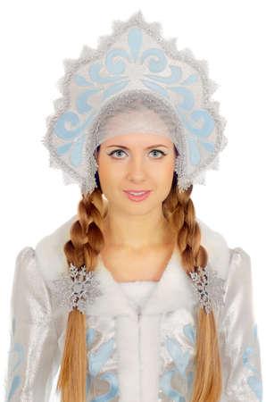 kokoshnik: Closeup portrait of a beautiful Snow Maiden. Isolated