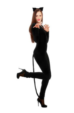 catwoman: Playful young woman dressed as a cat. Isolated