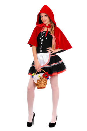 Young woman dressed as Little Red Riding Hood photo
