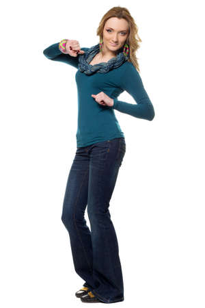 Young woman in a blue jeans. Isolated on white Stock Photo - 17577071