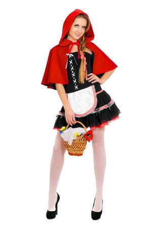 Charming young woman dressed as Little Red Riding Hood photo