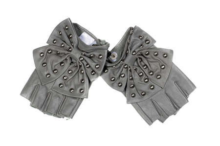 fingerless gloves: Gray womens fingerless gloves. Isolated on white
