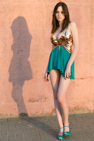 Alluring young caucasian woman wearing frank dress posing outdoors