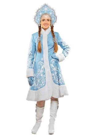 kokoshnik: Smiling woman wearing blue costume of snow maiden  Isolated on white Stock Photo