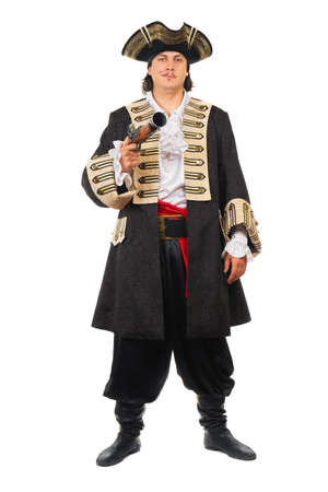 Young man with pistol wearing pirate costume. Isolated on white   photo