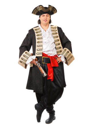 Young grinning man in pirate costume.  Isolated on white   photo