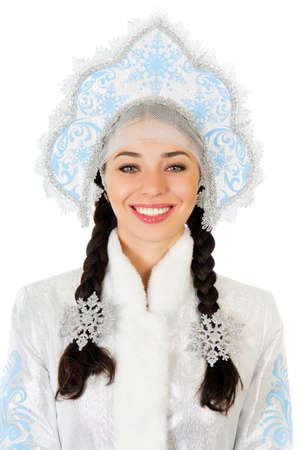 kokoshnik: Portrait of smiling brunette wearing blue kokoshnik. Isolated on white  Stock Photo