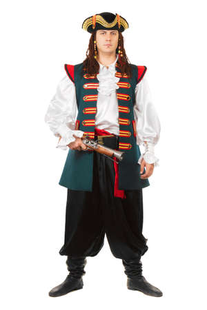Young serious man wearing pirate costume  Isolated on white photo