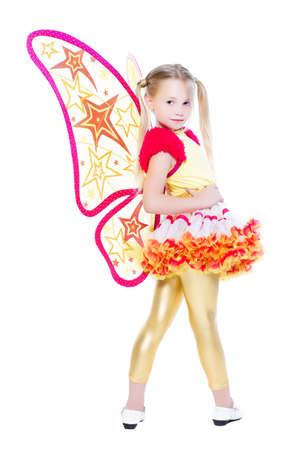 Nice little blond girl wearing butterfly costume. Isolated on white photo