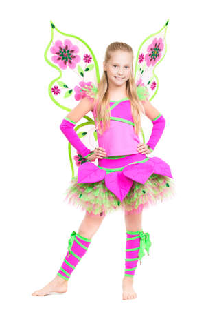 barefooted: Cheerful barefooted girl posing in fairy costume. Isolated on white