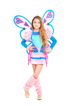 Nice girl posing in fairy costume. Isolated on white