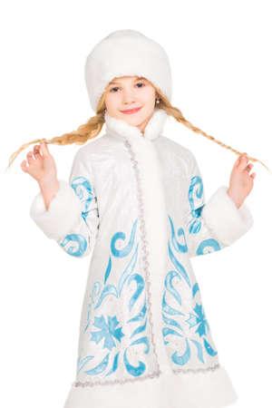 snegurochka: Playful little blonde posing in winter costume. Isolated on white