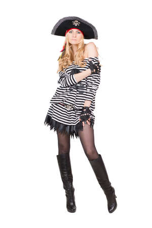 Pretty young woman posing in pirate costume. Isolated on white photo