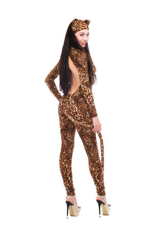 Smiling young woman in leopard suit. Isolated on white photo