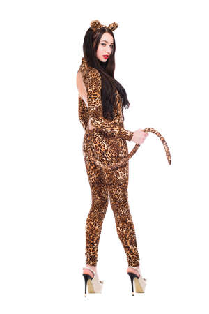 Playful young brunette dressed as leopard. Isolated on white photo