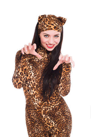 Beautiful young woman posing in leopard suit. Isolated on white photo