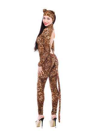 Beautiful young woman dressed as leopard. Isolated on white photo