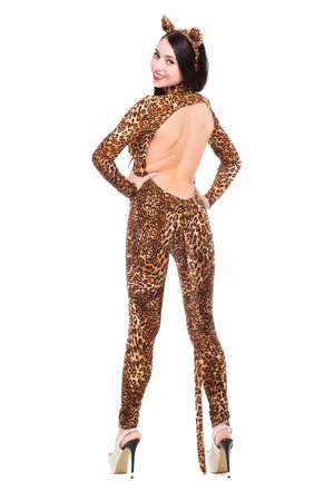Smiling young woman wearing slinky leopard suit. Isolated on white photo