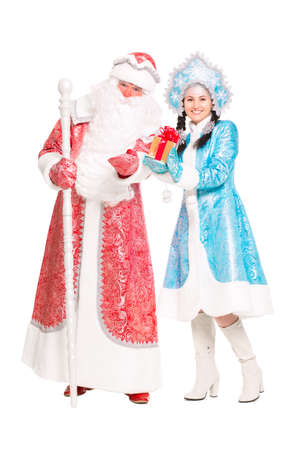 Father Frost and Snow Maiden. Isolated on white photo