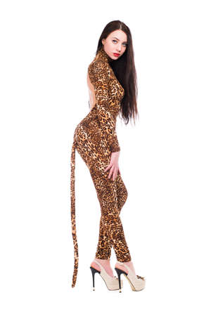 Inviting brunette wearing like a leopard. Isolated on white photo