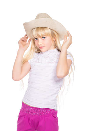 stetson: Portrait of nice little blond girl in stetson. Isolated on white Stock Photo