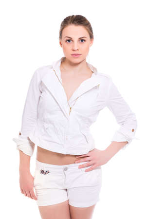 slinky: Portrait of attractive young woman in white clothes. Isolated on white Stock Photo