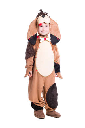dog in costume: Little boy in a dog costume. Isolated on white