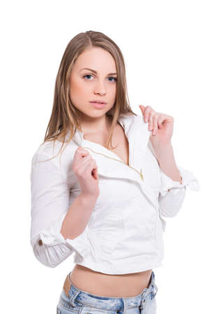 Portrait of attractive blond woman posing in white shirt. Isolated on white Stock Photo