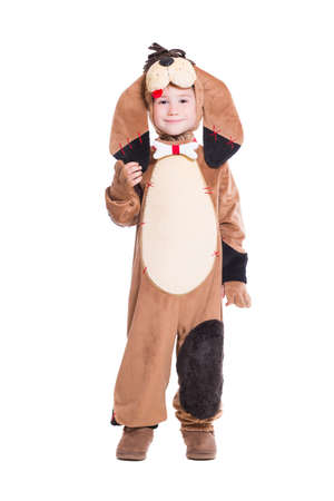 dog in costume: Beautiful little boy posing in a dog costume. Isolated on white