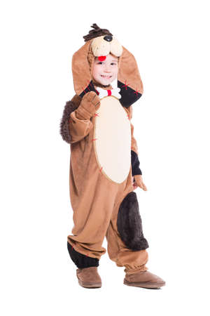 dog in costume: Cheerful little boy posing in a dog costume. Isolated on white Stock Photo