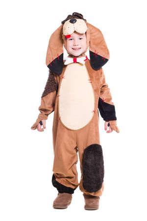 Playful little boy wearing like a dog. Isolated on white photo