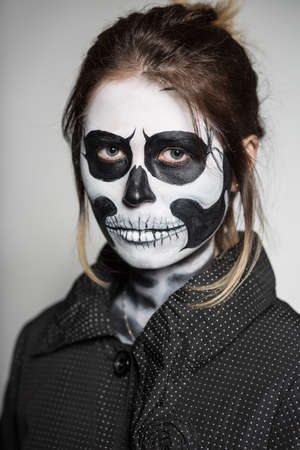 corpse: Portrait of woman painted like a corpse for Halloween Stock Photo