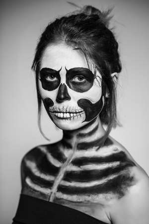 ugly people: Portrait of woman painted like a zombie. Monochrome Stock Photo