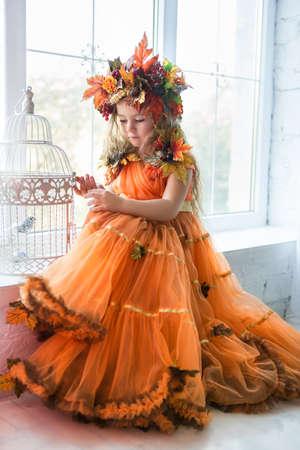 Nice little girl wearing autumn costume posing near the window Stock Photo