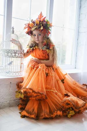 Beautiful little girl wearing autumn costume posing near the window