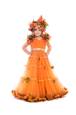 Lovely little girl wearing orange autumn dress and wreath. Isolated on white