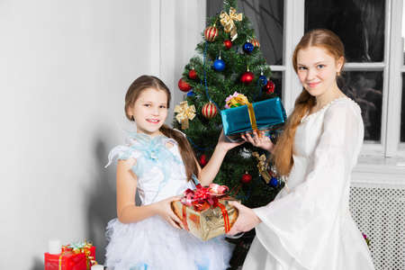 Girls exchange gifts on the background of a beautiful christmas tree