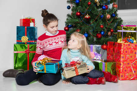 Two beautiful girls are sitting near the gifts and the christmas tree