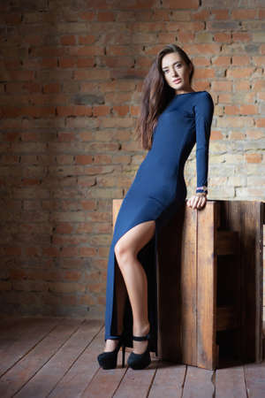 Pensive woman posing in the studio, dressed in a blue dress in black shoes against a brick wall Stock Photo