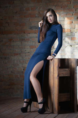 Charming lady posing in the studio, dressed in a blue dress in black shoes against a brick wall