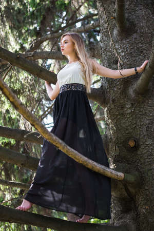 Adorable young woman posing on a tree dressed in a long dress Stock Photo