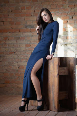 Lovely woman posing in the studio, dressed in a blue dress in black shoes against a brick wall Stock Photo